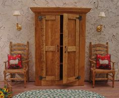 Rustic Tuscan Farmhouse Armoire/Cabinet 1:12 by WestonMiniature