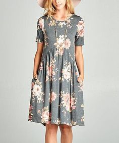 This Black Floral Side-Pocket Dress is perfect! #zulilyfinds