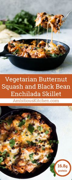 A healthy vegetarian Mexican-inspired dinner -- butternut squash and black bean enchilada skillet. Ready in less than 30 minutes! 13g fiber & 16g protein per serving!