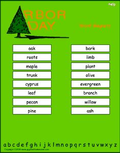 Arbor Day vocabulary words, interactive word magnet game, vocabulary magnet games, arrange the magnets in alphabetical order   http://www.apples4theteacher.com/holidays/arbor-day/printables/word-magnets.html