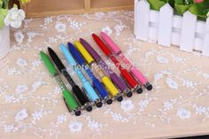 1pcs/lot High Quality Crystal pen diamond ballpoint pen Office & School Supplies touch pen 2 in 1 free shipping