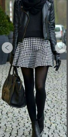 All I need is a houndstooth skirt to complete this outfit (I do have a leather jacket! Winter Skirt Outfit, Fall Winter Outfits, Autumn Winter Fashion, Winter Style, Winter Dresses, Autumn Style, Mode Outfits, Casual Outfits, Fashion Outfits