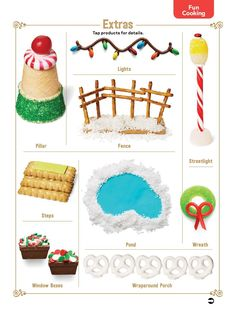 Gingerbread house extras - from web. Cool Gingerbread Houses, Gingerbread House Designs, Gingerbread House Parties, Gingerbread Village, Christmas Gingerbread House, Christmas Sweets, Christmas Goodies, Christmas Baking, Christmas Time