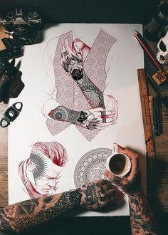 Boy Tattoos, Family Tattoos, Black Tattoos, Body Art Tattoos, Hand Tattoos, Tattoos For Guys, Tatoos, Geometric Tattoo Full Sleeve, Leg Sleeve Tattoo