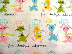 Vintage Dennison Baby Shower Gift Wrap by theturniptruck on Etsy, $4.95