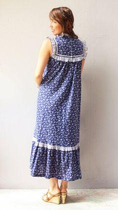 vintage navy dress  festival maxi floral by FiregypsyVintage, $35.61