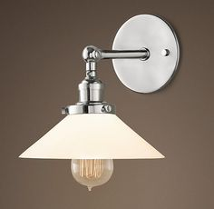 20th C. Factory Filament Milk Glass Sconce - Master Ensuite