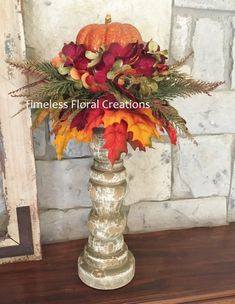 Items similar to Fall Pumpkin Arrangement~Candlestick~Vase~Table decoration~Maple Leaves for Autumn Decorating~Timeless Floral Creations on Etsy Pumpkin Arrangements, Fall Floral Arrangements, Thanksgiving Decorations, Holiday Decor, Fall Decorations, Autumn Decorating, Arte Floral, Fall Table, Fall Flowers