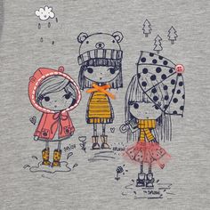 bluezoo Girl's grey graphic girls print top- at Debenhams.com