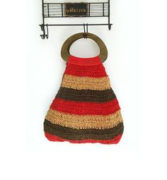 Vintage Crochet Bag  Boho Bag with Wooden by millyscollection, $32.50 etsy.com