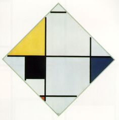 Lozenge Composition with Yellow, Black, Blue, Red, and Gray 1921 Oil on canvas 60.1 x 60.1 cm