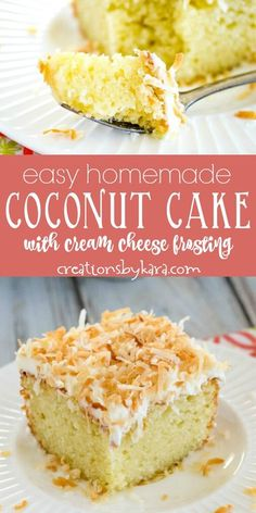 Recipe for the Best Coconut Cake with cream cheese frosting - this coconut sheet cake is easy to whip up, but tastes amazing! It is topped off with a scrumptious coconut cream cheese frosting and toasted coconut. #coconutcake #coconutcreamcake #coconutcakefrosting #coconutcakerecipe #creationsbykara #coconutsheetcake #toastedcoconut Easy No Bake Desserts, Mini Desserts, Delicious Desserts, Cupcake Recipes, Cupcake Cakes, Dessert Recipes, Cupcakes, Candy Cakes, Oreo Dessert