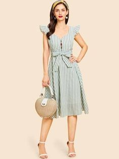 Vintage A Line Striped Fit and Flare V neck Sleeveless High Waist Green Midi Length Ruffle Trim Belted Striped Dress with Belt Frock Fashion, Fall Fashion Outfits, Casual Fall Outfits, Spring Outfits, Fashion Dresses, Women's Fashion, Fashion Tips, Simple Dresses, Cute Dresses