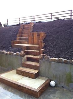 Stairs for the yard.pretty neat, now just imagine all sorts of flowers on this … - All For Backyard Ideas Steep Hillside Landscaping, Landscaping On A Hill, Hillside Garden, Outdoor Landscaping, Sloped Yard, Sloped Backyard, Backyard Patio Designs, Steep Gardens, Timber Stair