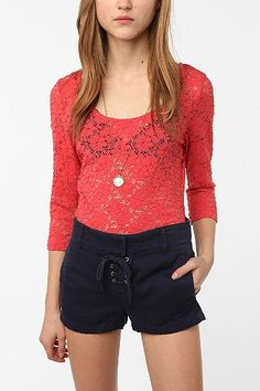 Pins and Needles 3/4 Sleeve Lace Top- Urban Outfitters