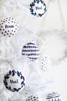 DIY Watercolour Printed Fabric Bauble Christmas Decorations | @fallfordiy