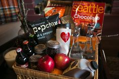 Local goodies welcome basket.  Camping Wedding - Northwest Glamping theme from Shindig Events   Weddings in Woodinville 2013