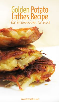 Enjoy this golden potato latkes recipe - a favorite Hanukkah food of my family's! They're crispy, tastier than usual, and addictive.