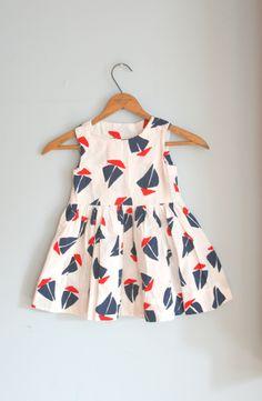 Cute little sailboat dress. Fashion Kids, Little Girl Fashion, Little Girl Dresses, Toddler Fashion, Girls Dresses, Cute Outfits For Kids, Toddler Outfits, Baby News, Kids Mode