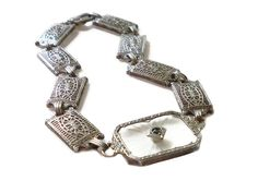 Art Deco Camphor Bracelet Sterling Silver Filigree Paste Rhinestone Antique Jewelry by zephyrvintage on Etsy