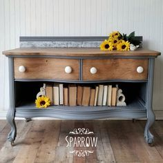 Gorgeous vintage washstand has been refinished with a custom mix of General Finishes Queenstown Gray and Seagull Gray Milk Paint with the wood left natural. Painted Furniture, Furniture Design, Dresser Tv Stand, General Finishes, Milk Paint, Furniture Restoration, Color Mixing, Ikea, It Is Finished