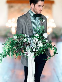 Groom in Gingham and Gray   Megan Robinson Photography and Leslie Dawn Events   Candlelight Winter Wedding Ideas in Green and White