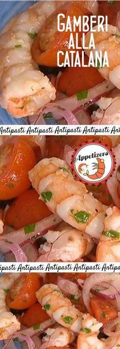 Gamberi alla catalana, ottimo piatto da servire non solo come antipasto. Fish Recipes, Lunch Recipes, Gourmet Recipes, Cooking Recipes, Antipasto, Seafood Appetizers, Finger Food Appetizers, I Love Food, Good Food