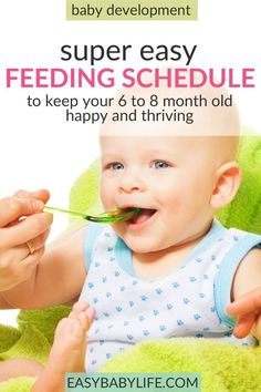 8 month old baby food Simply and practical feeding schedule for babies up to babies! Feeding schedule for baby, baby feeding chart, baby feeding schedule when introducing solids, baby feeding tips 8 Month Old Baby Food, Seven Month Old Baby, 6 Month Baby Food, Baby Month By Month, 8 Month Old Schedule, Baby Food Schedule, Baby Feeding Schedule, Feeding Program, Sleep Schedule