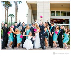 bright teal and hot pink bridal party!