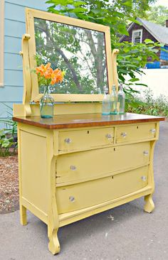 Heir and Space: An Empire Dresser in Yellow – Furniture Makeover Redo Furniture, Decor, Refurbished Furniture, Yellow Furniture, Furniture, Empire Furniture, Empire Dresser, Yellow Painted Furniture, Recycled Furniture
