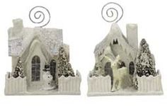 Ivory Cottage Placecard Holder Ornaments from Hometraditions. These would make darling hostess gifts for a Christmas dinner or use these to hold cherished photographs.