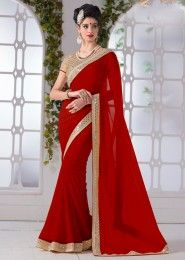 Party Wear Red Chiffon Lace Border Work Saree