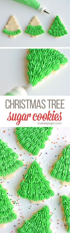 These Christmas tree sugar cookies have such a gorgeous fir tree texture! This recipe makes perfect, fool proof cookies which are perfect for decorating! Christmas Sweets, Christmas Cooking, Christmas Goodies, Christmas Candy, Christmas Decorations, Kids Christmas, Tree Decorations, Holiday Cookies, Holiday Desserts