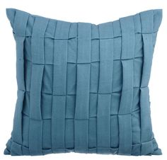Love Tune - 16 x 16 Dull Blue Textured Suede Throw Pillow.