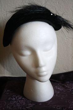 1940s Cocktail Tilt Hat  Black Velvet with by VarietyVintagebyALD, SOLD