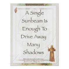 Saint Francis of Assisi Sunbeam PRAYER Poster