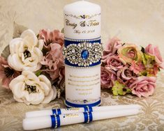 Personalized Wedding Unity Candle Set with Gold Foil Print Royal Blue Ribbons Rhinestone Pearl Appli Wedding Unity Candles, Gold Candles, Pillar Candles, Unity Ceremony, Money Box Wedding, Wedding Boxes, Wedding Ideas, Candle Reading, Azul Real