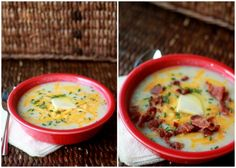 Baked Potato Soup with Optional Bacon - Baked potato goodness in soup form! Serve with assorted toppings like chives, cheddar cheese, and bacon so everyone can happily load up their own bowls.