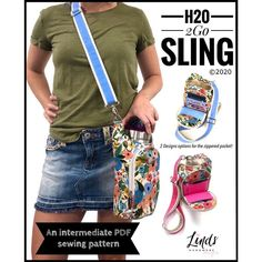 Sewing pattern for the H2O 2GO Sling Waterbottle Holder. This is a very practical bag to sew and use for summer. It's a DIY waterbottle or drink carrier to sew, or can hold your morning coffee. There are also four card slots that can easily be doubled up for more storage. This handsfree sling bag sewing pattern is versatile for adults and kids as a crossbody bag to sew. Free full sewing video tutorial included with the pattern. Bag Patterns To Sew, Pdf Sewing Patterns, Free Sewing, Dyi, Interfacing Fabric, Pinking Shears, Quilting Rulers, Water Bottle Holders, Minimalist Wallet