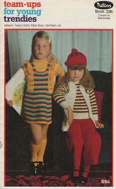 TEAM-UP FOR YOUNG TRENDIES.    Patons Knitting Pattern in Totem or Baroness  by jennylouvintage, $7.00