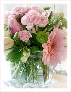 pink gerbera and barnations and pink roses#bouquets