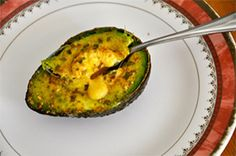 Baked Avocado & Egg: 1 organic avocado, halved remove pit 1 egg salt, pepper, & favorite seasoning – I used Fajita Seasoning Preheat oven to 425F. Flip each avocado side over & slice off enough of rounded skin so that it can sit flat when fleshy side is up. Place avocadoes, fleshy side up, in baking pan. Crack some salt into each hole. Whisk egg in bowl, divide it between avocado holes. Sprinkle with salt, pepper & seasoning of your choice. Bake for 16-18 minutes, until the egg has fully…
