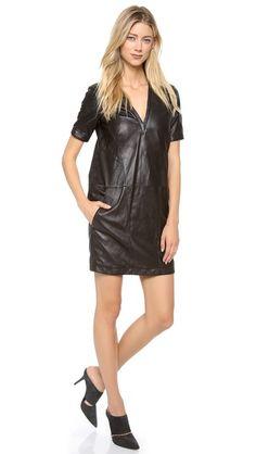 HELMUT Helmut Lang Leather Shirtdress