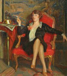 Fritz Reusing (German artist, 1874-1957) Portrait of a Smoking Lady 1927 (don't smoke)