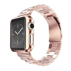 Apple Watch accessories, ABC Stainless Steel Strap Watch Band+Adapter+Case Cover for Apple Watch iWatch 38mm (Rose Gold)