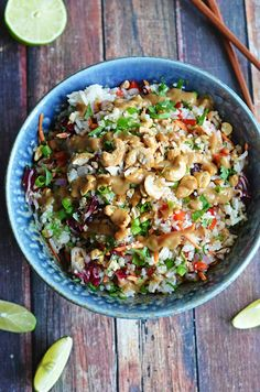 Thai Cashew Coconut Rice with Ginger Peanut Dressing.  This rice salad is seriously addictive and always a huge hit at potlucks!  Pasta salad is so overrated.  Rice salad?  I want it for every meal. | blog.hostthetoast.com