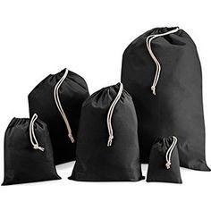 Drawstring Bags in Black Cotton