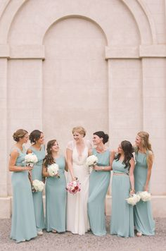 #Bridesmaids by BCBG | Lovely Color! Nikki Mills Photography | See the wedding on SMP - http://www.StyleMePretty.com/canada-weddings/ontario/2014/01/13/modern-art-gallery-wedding/