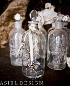Steampunk | Wedding | Wooden Wheel | Glass Vials | Vintage | Silver Flower | Asiel Design