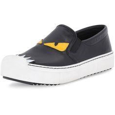 Fendi Leather Monster Skate Sneaker ($635) ❤ liked on Polyvore